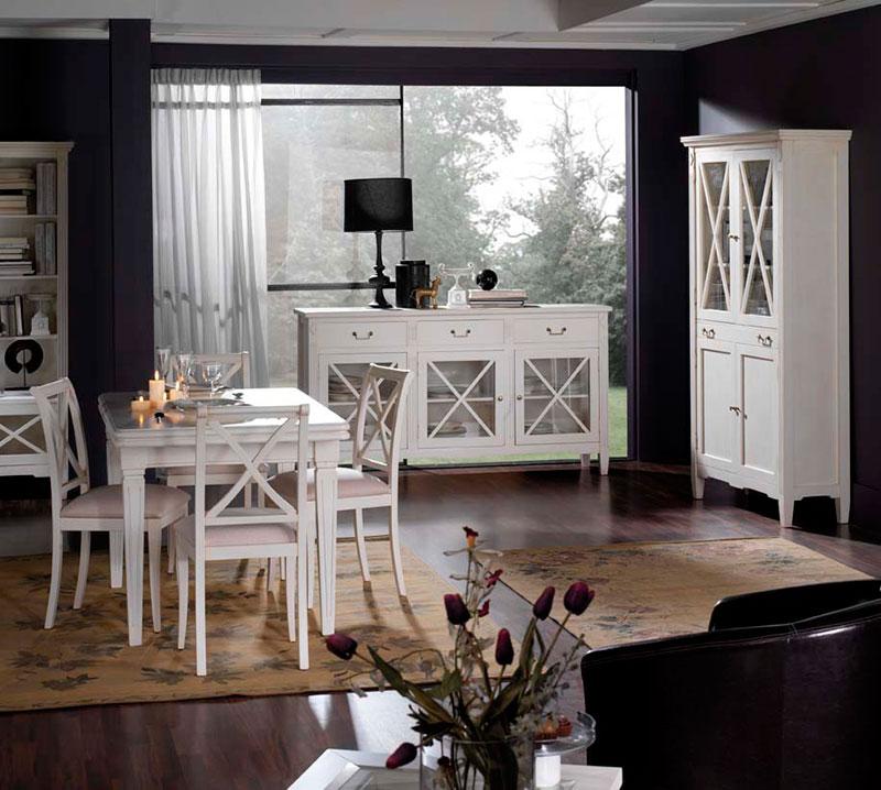 Muebles salon comedor estilo frances en blanco | Artesania y ...