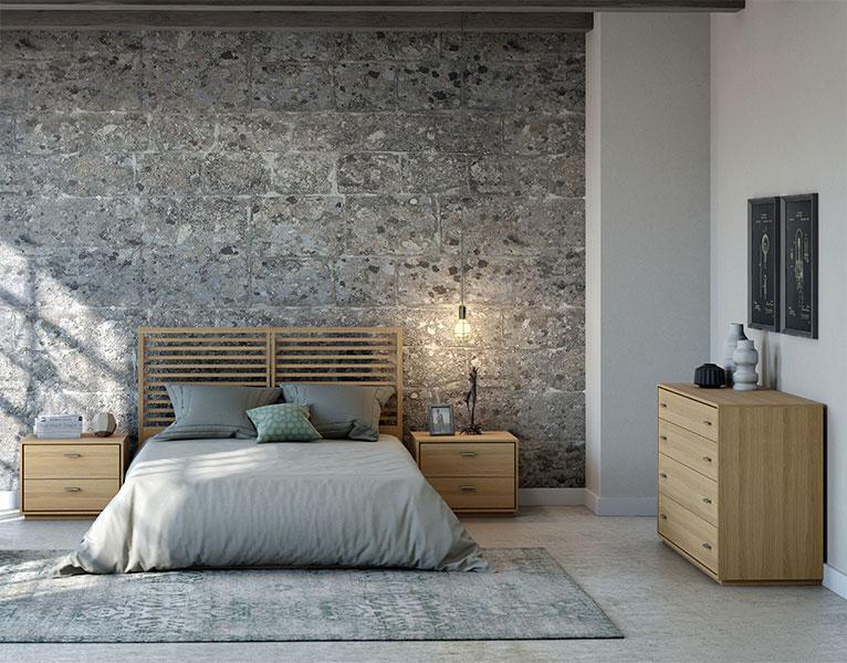 dormitorio completo estilo actual en madera de roble con mesitas de noche, cabecero y comoda