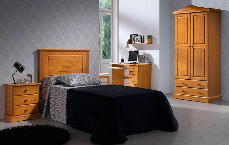 Dormitorio madera de pino juvenil con armario mesita y cabeco
