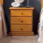 mesilla de noche estilo provenzal con 3 cajones madera de pino en miel