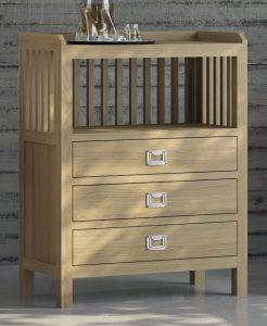 Mueble auxiliar 3 cajones y estantes en roble