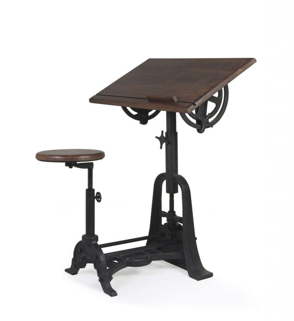 Pupitre escritorio estilo vintage acero madera