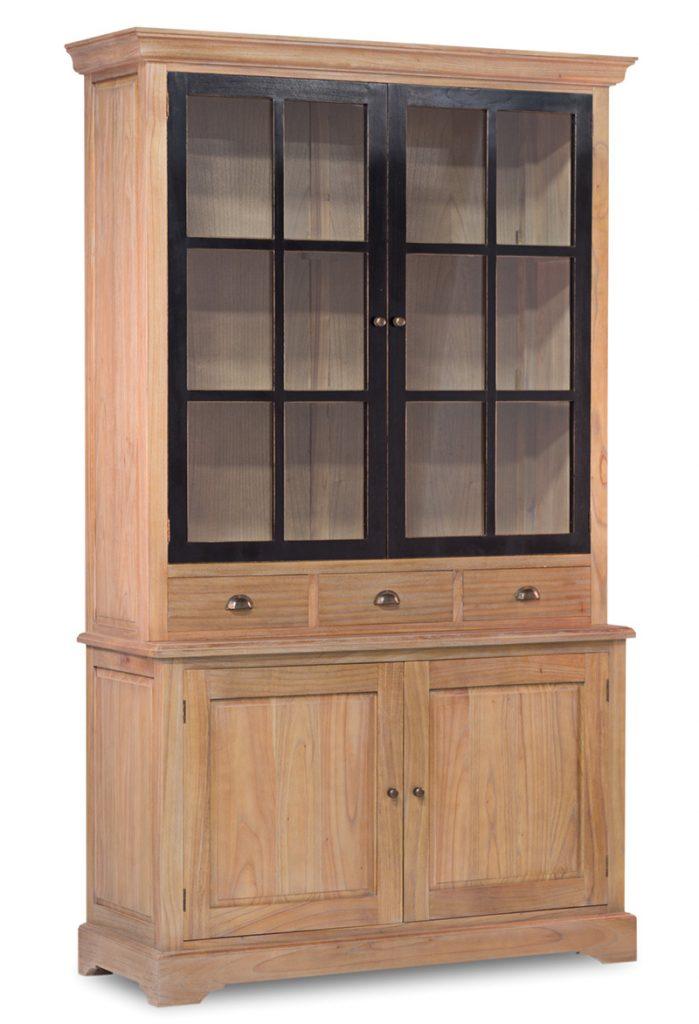 vitrina bicolor 4 puertas 3 cajones estilo provenzal