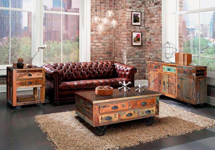 Salon estilo rustico vintage colores desgastado