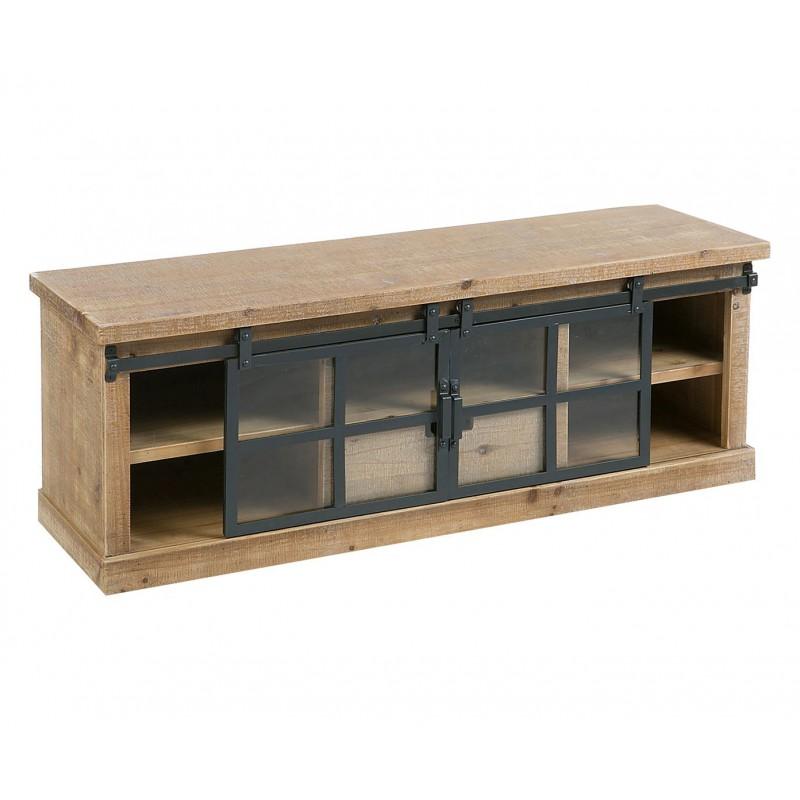 Mesa television madera metal industrial Niciak