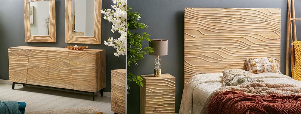 Dormitorio madera mango serie Mait