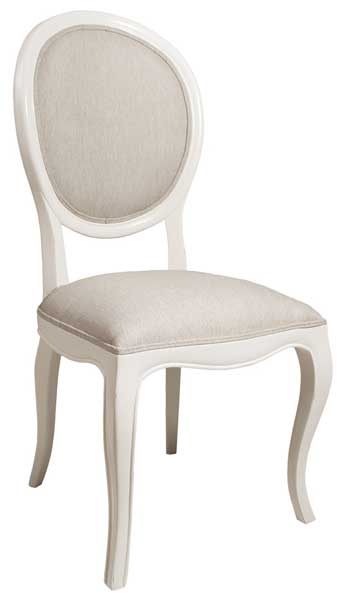 Silla tapizada clasica blanca
