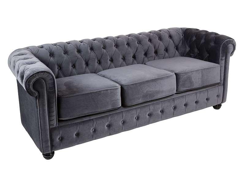Sofa chester 3 plazas gris