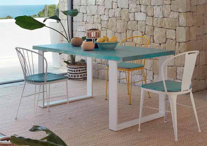 Mesa y sillas comedor forja