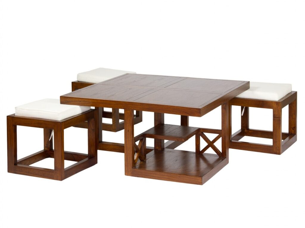 Mesa de centro con puff y estanteria