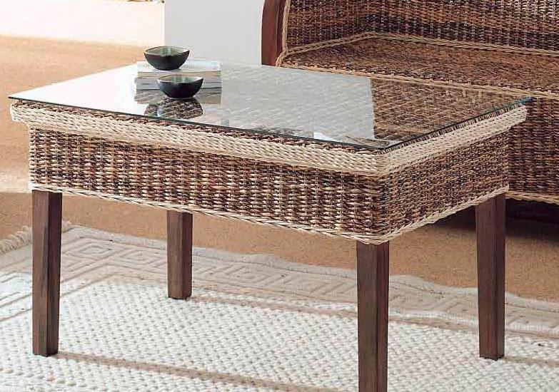 Mesa de centro madera rattan