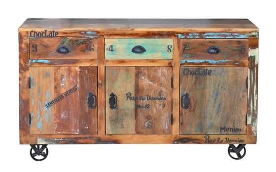 Aparador 3 Puertas 3 Cajones y Ruedas Vintage Serie Artsas