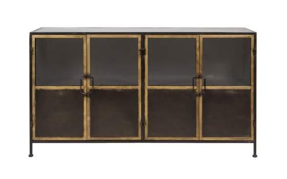 Aparador estilo industrial 4 puertas acristaladas de metal - Aparador industrial ...