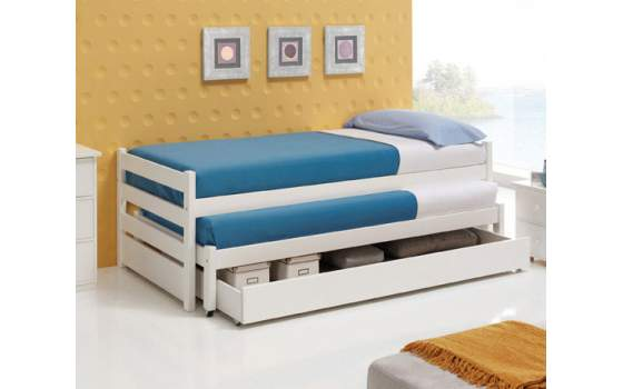 Cama doble con cajon roma for Cama nido doble con ruedas