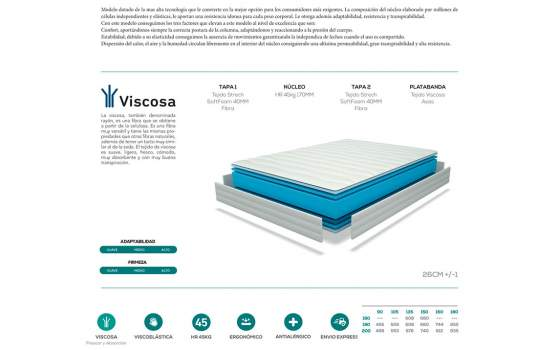 Colchon Viscosa y Viscoelastica Air Tech