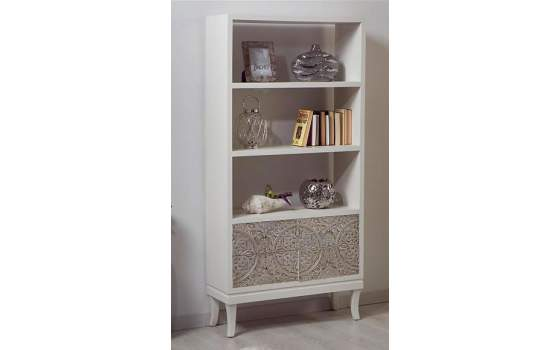 Estanter a actual blanca puertas en plata tallada serie kendra - Estanteria blanca lacada ...