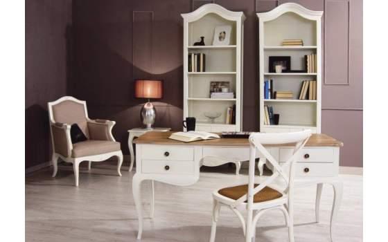 Libreria para el salon estilo clasico vintage en blanco decape - Librerias salon blancas ...