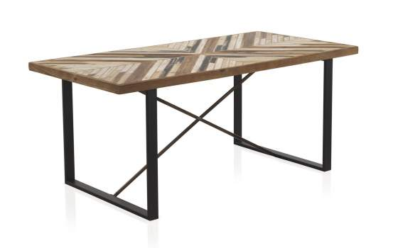 Mesa comedor industrial tablero madera en espiga