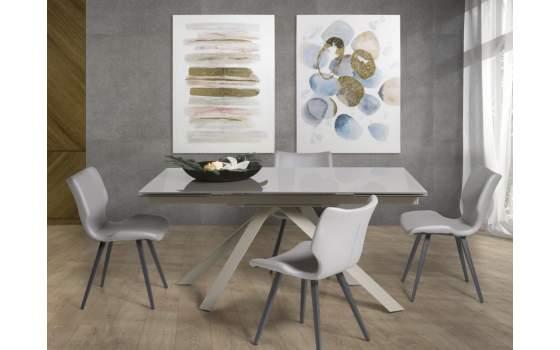 Mesa Comedor Moderna Extensible Acero y Cristal Serie Altiro