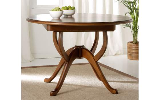 Mesa de comedor redonda extensible clasica colonial madera