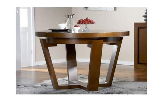 Mesa redonda extensible robusta madera maciza colonial for Mesa comedor redonda extensible madera