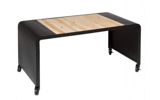Mesa de centro para el salon estilo industrial con ruedas for Mesa industrial de madera y metal