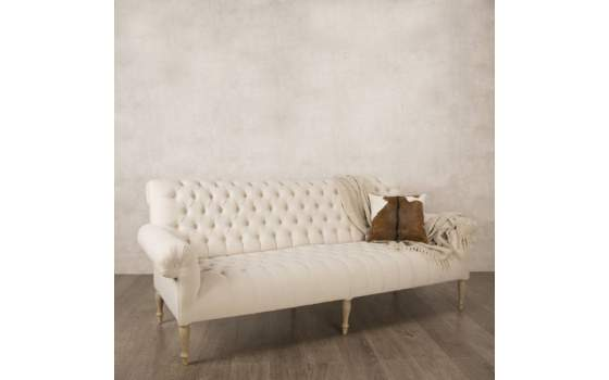 Sofa 3 Plazas Beige Capitone Roble Arkardo