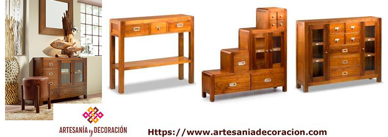 Muebles de entrada y recibidor estilo colonial con consolas y espejos coloniales - Muebles coloniales madrid ...